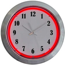 Chrome Red Neon Clock