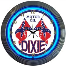 Dixie Motor Oil Neon Clock