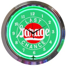 "Cars and Motorcycles 15"" Last Chance Garage Wall Clock"