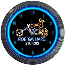 "Cars and Motorcycles 15"" Ride Em Hard Sturgis Wall Clock"
