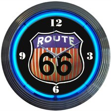 "Cars and Motorcycles 15"" Route 66 Wall Clock"