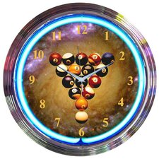 Billiards Space Balls Neon Clock