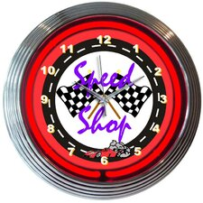 "Cars and Motorcycles 15"" Speed Shop Wall Clock"