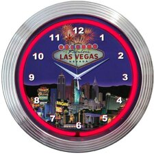 "<strong>Neonetics</strong> Bar and Game Room 15"" Vegas Wall Clock"