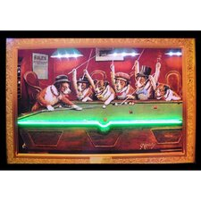 Dogs Playing Pool Neon LED Framed Vintage Advertisement