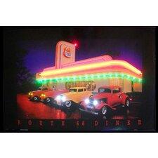 Route 66 Diner Neon LED Framed Vintage Advertisement
