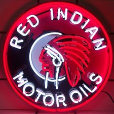 <strong>Neonetics</strong> Red Indian Motor Oils Neon Sign