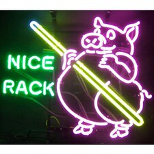 Business Signs Pig Pool Nice Rack Neon Sign