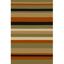 Kings Court Green Uri Stripes Rug