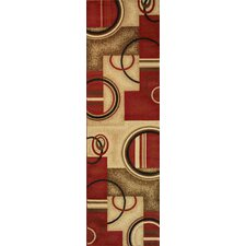 Barclay Red Arcs and Shapes Modern Rug