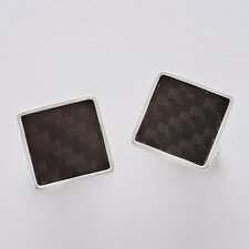 Sterling Silver and Carbon Fiber Square Cuff Link Set