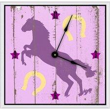 "Cowgirl's Horse 16"" Art Wall Clock"