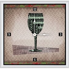"<strong>Green Leaf Art</strong> Wine Glass 11"" Art Wall Clock"