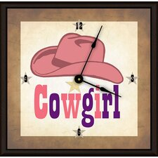 "Cowgirl Hat 11"" Art Wall Clock"