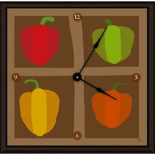 "<strong>Green Leaf Art</strong> Peppers 11"" Art Wall Clock"
