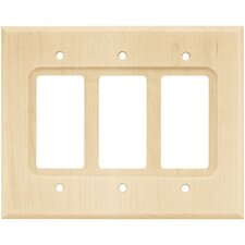 Wood Square Triple Decorator Wall Plate