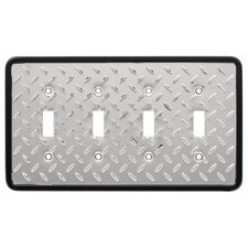 Diamond Plate Quad Switch Wall Plate