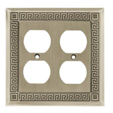 Greek Key Double Duplex Wall Plate