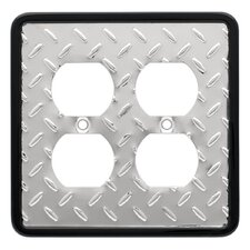 Diamond Plate Wp Double Duplex Wall Plate
