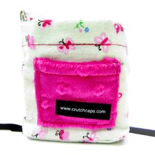 <strong>Crutch Caps</strong> Mint Butterfly and Fuzzy Child Crutch Bag