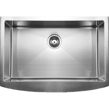 "33"" x 22.25"" Curved Apron Front Single Bowl Undermount Kitchen Sink"