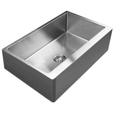"33"" x 21"" Straight Apron Front Single Bowl Undermount Kitchen Sink"