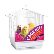 House Style Roof Bird Cage Kit White