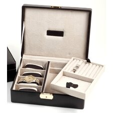 <strong>Bey-Berk</strong> 4 Watch Case and Valet with Removable Tray and Locking Clasp