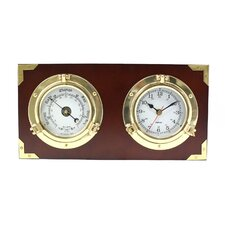 Porthole Quartz Wall Clock and Barometer