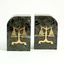 """Marble Bookends with """"Legal"""" Emblem"""