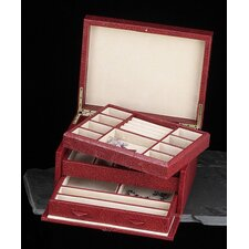 <strong>Bey-Berk</strong> Multi-level Jewelry Box in Red Leather