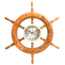 "<strong>Bey-Berk</strong> Oversized 24.5"" Ships Wheel Wall Clock"