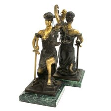 <strong>Bey-Berk</strong> Kneeling Lady Justice Book Ends (Set of 2)