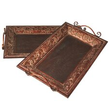 2 Piece Rectangle Scroll Tray Set