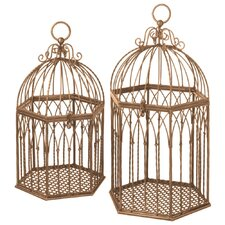 2 Piece Birdcage Wall Hanging Planter Set