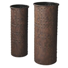 2 Piece Rusted Studded Vase Set
