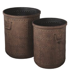 2 Piece Rusted Studded Pot Planter Set