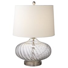 "Oversized Glass Swirl 23.5"" H Table Lamp with Empire Shade"