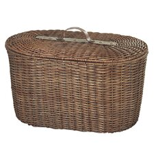 Woven Rattan Oval Trunk with Leather Handle