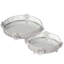 2 Piece Rose Vanity Tray Set