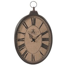 "Burlap Pocket Watch 16"" Wall Clock"