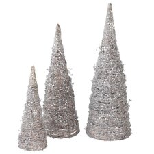 Frosted Natural Fiber and Glitter Tree (Set of 3)