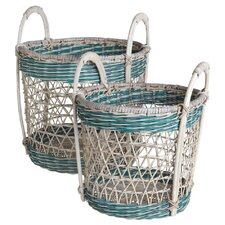 Open Weave Round Basket (Set of 2)