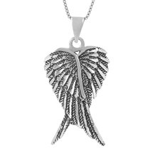 Oxidized Sterling Silver Angel Wings Necklace
