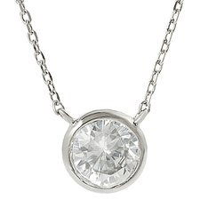 Brass Round Cut Cubic Zirconia Necklace