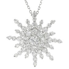 Brass Snowflake Cubic Zirconia Necklace
