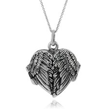 Sterling Silver Angel Wing Locket Pendant