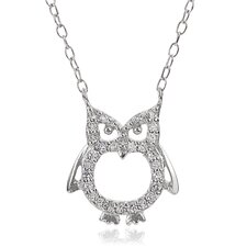 Sterling Silver Owl Cubic Zirconia Necklace