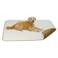 Quiet Time Boutique Quilted Reversible Pet Throw in Tan Suede and Fleece