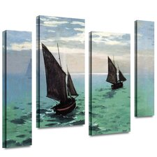 4 Piece 'Two Sailboats' Gallery-Wrapped Canvas Art by Claude Monet